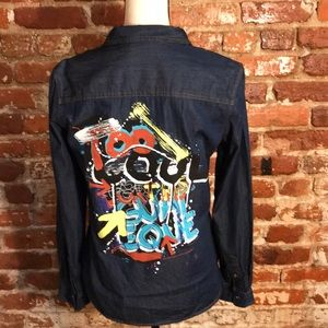 Zara basic Z1975 graffiti denim shirt USM Worn